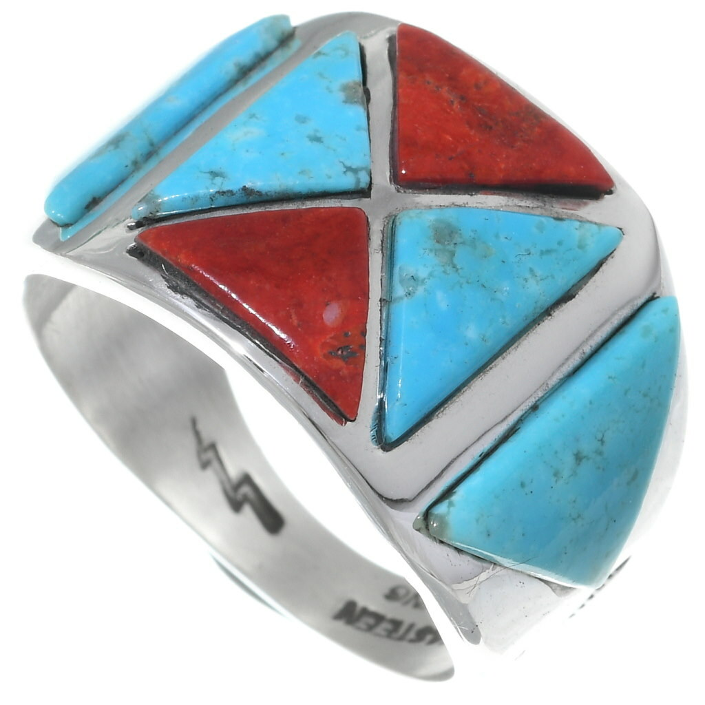 Details about  /Men/'s Sterling Silver Turquoise /& Coral Gemstone Chip Inlay Mosaic Design Ring
