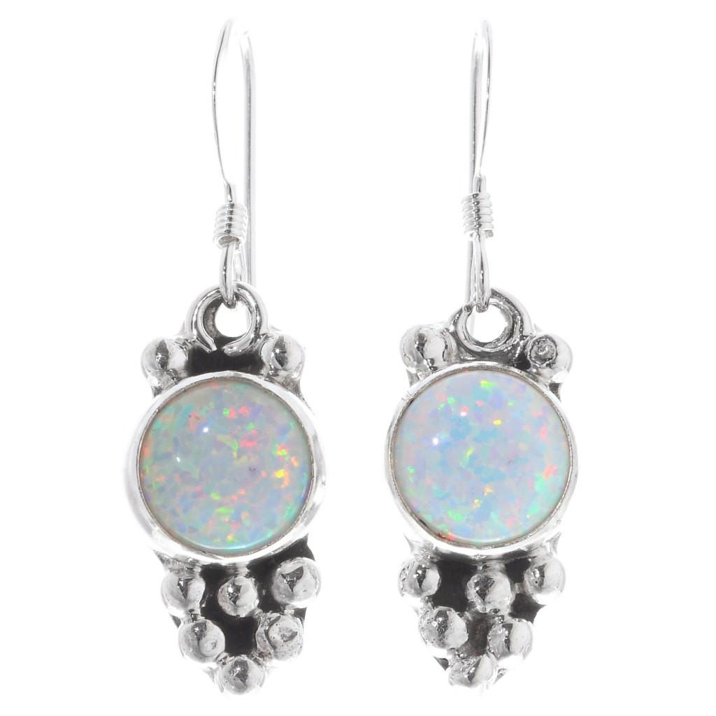 Upside-down silver drops set with white gemstone Silver ear studs Silver Drop Earrings