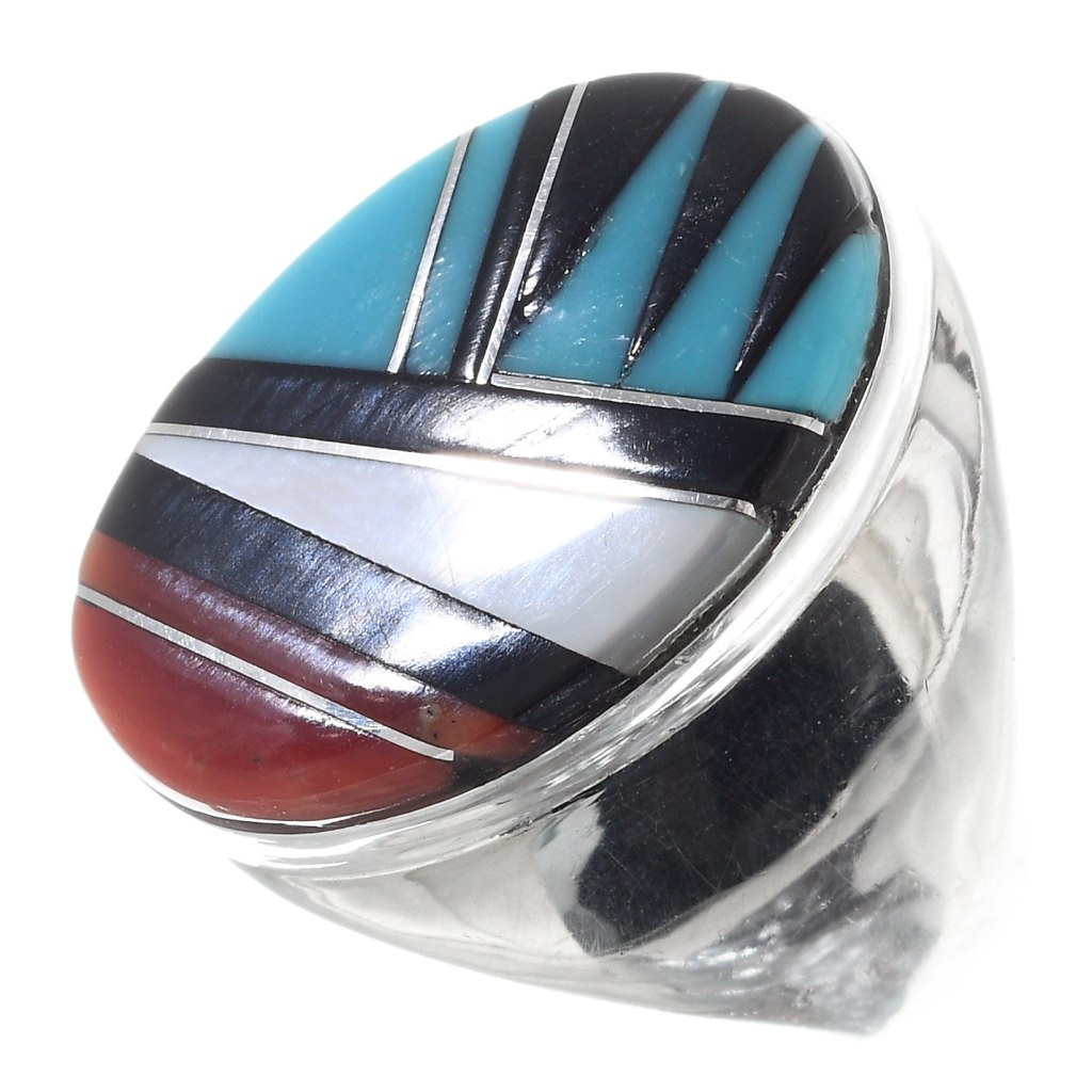 Vintage Pawn Inlay Shell Design Turquoise  Sterling Silver Ring