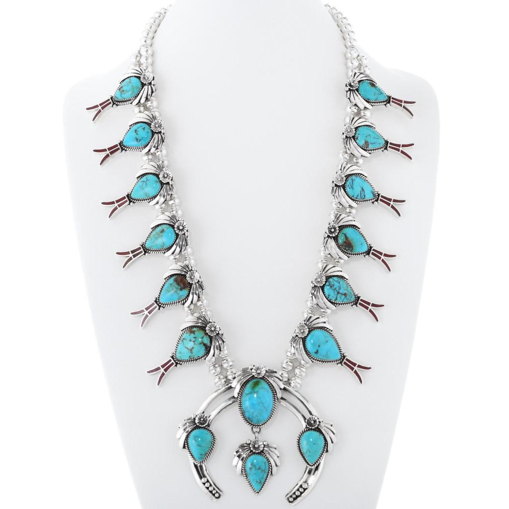 White Buffalo and McGinnis Turquoise Necklace Southwest Elegance