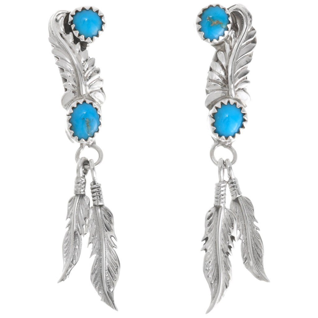 Details about  /Navajo Indian Jewelry Sterling Silver Coral Bear Paw Dangle Earrings!