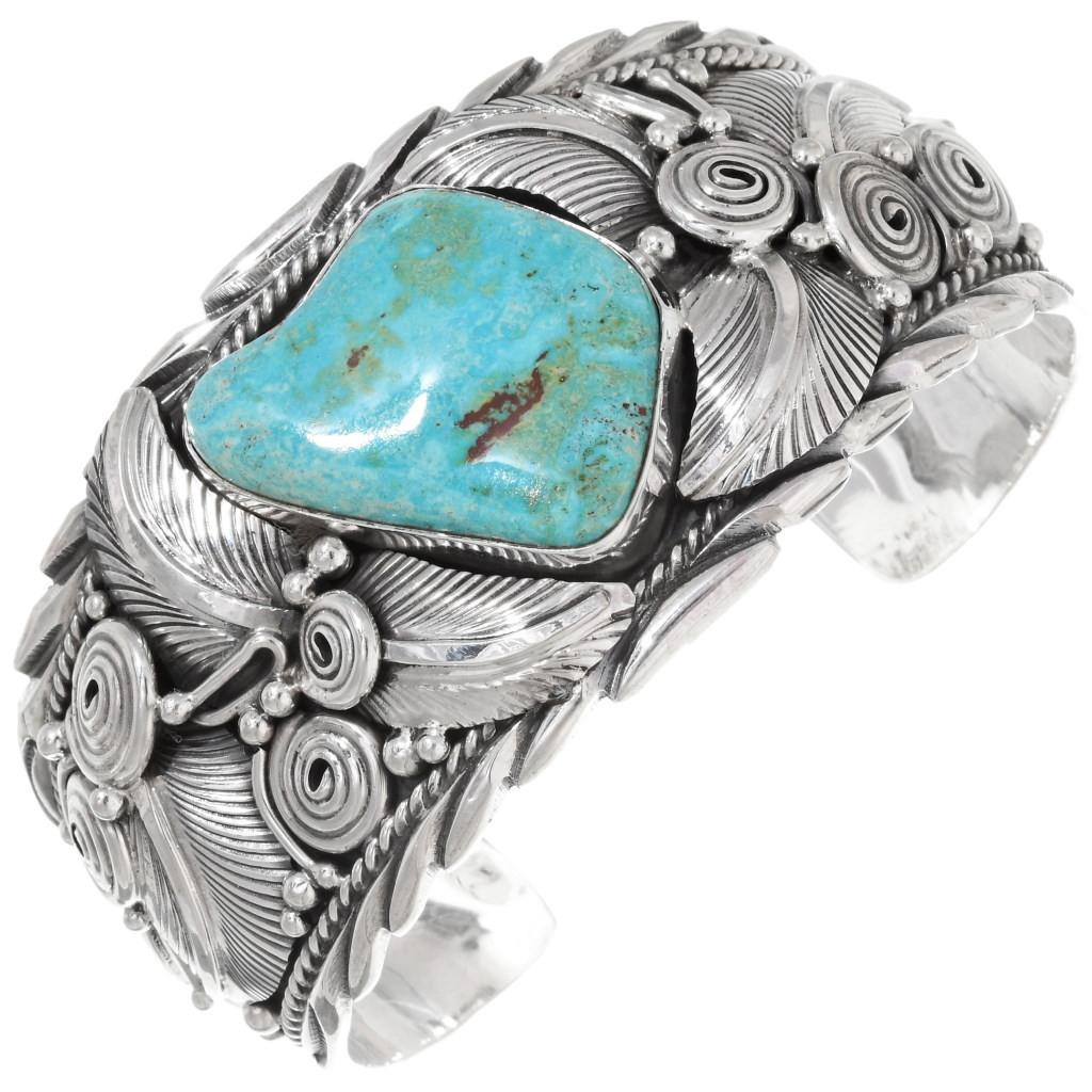 Navajo Leaf Royston turquoise sterling silver cuff bracelet vintage