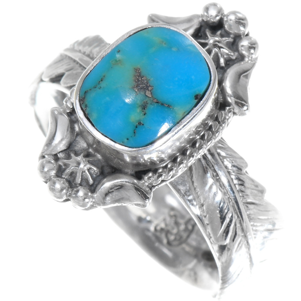 Southwestern Turquoise Ring Size 9  925 Sterling Silver  Sonoran Turquoise Ring  Silver Turquoise Ring  Sonoran Turquoise Ring