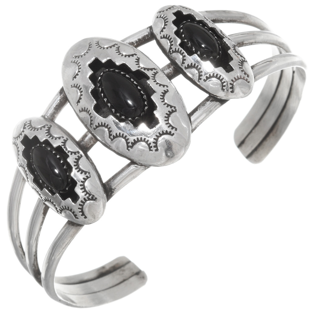 Round Cabochon Custom Hammered Band Black Onyx Ring Sterling Silver Bezel