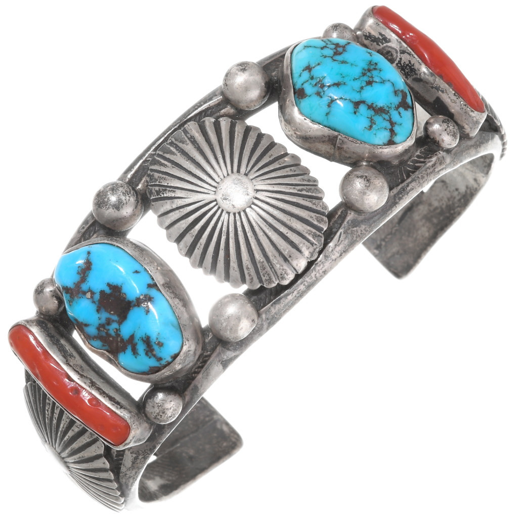 Rare vintage 1960s Navajo sterling silver and two-stone turquoise peace sign cuff bracelet