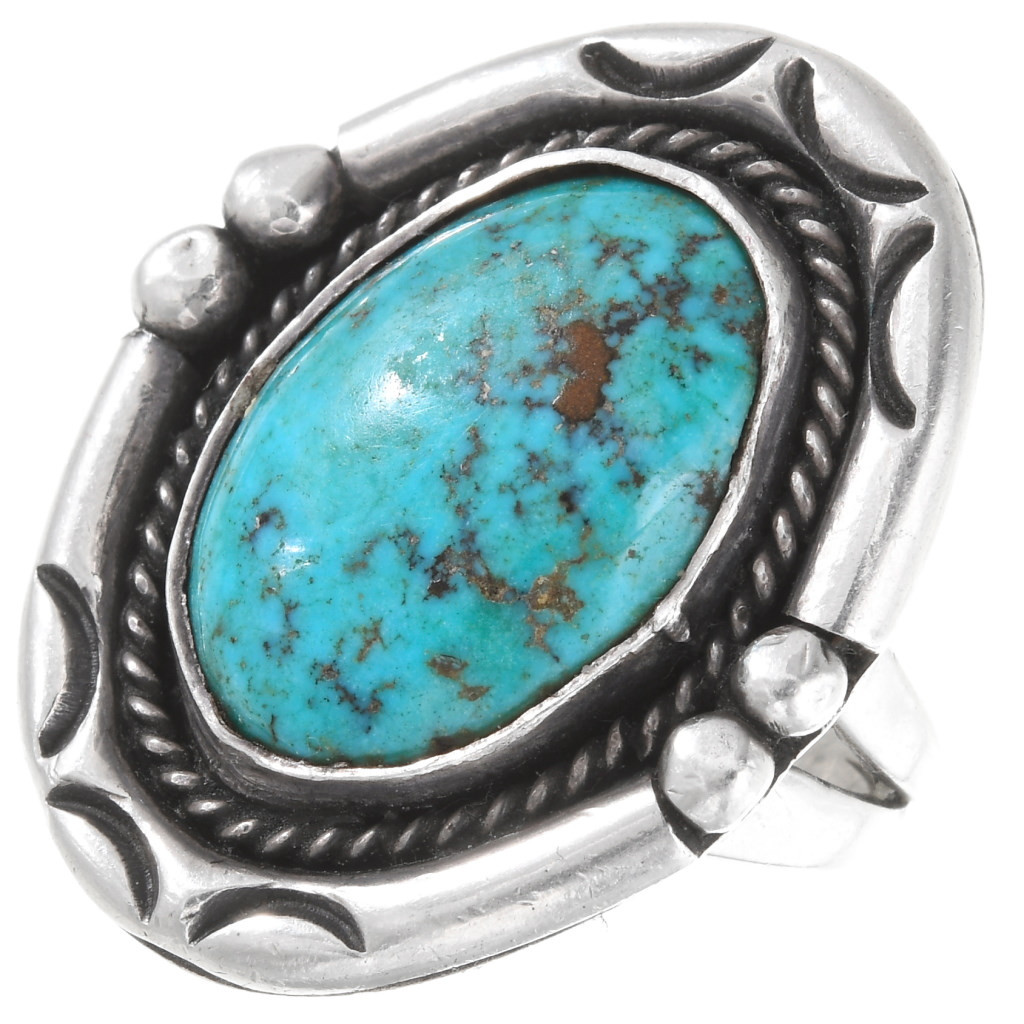 Vintage Navajo Ring Size 5.5 Southwestern Ring Zuni Sterling Silver Ring Green Turquoise Ring Old Pawn Jewellery Teardrop Cabochon Gem Stone