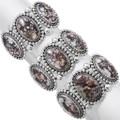 White Buffalo Sterling Silver Navajo Bracelets 23655