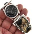 Silver Gold Onyx Watch 24503
