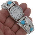 Navajo Turquoise Silver Watch Tips 22793