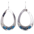 Navajo Turquoise Silver Earrings 26834