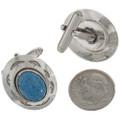 Silver Lapis Southwest Cuff Links 15909