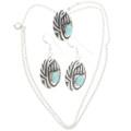 Turquoise Silver Navajo Pendant Set 25510