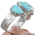 Five Stone Turquoise Solid Sterling Silver Cuff Bracelet