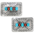 Authentic Navajo Silver Turquoise Belt Buckle 13978