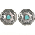 Navajo Turquoise Silver Concho Earrings 20747