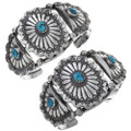 Turquoise Silver Concho Cuff Bracelet 25425
