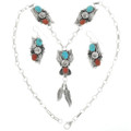 Turquoise Sterling Silver Feather Pendant Set  24776