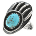 Turquoise Silver Bear Paw Ring 26398