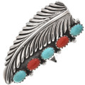 Turquoise Coral Sterling Southwest Ring 26825