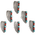 Navajo Turquoise Coral Silver Rings 26825