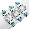 Ladies Turquoise Coral Watch Cuff 24433
