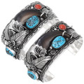 Navajo Made Turquoise Bear Claw Bracelet 15893