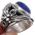 Lapis Silver Mens Ring 25688