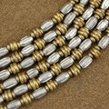Wholesale Lot of 12 4mm to 6mm Silver and Brass Bali Bead Strands