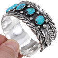 Kingman Turquoise Hammered Silver Cuff 17623