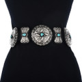 Sleeping Beauty Turquoise Antiqued Concho Belt 12956