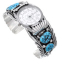 Kingman Turquoise Navajo Sterling Silver Watch Cuff 15078