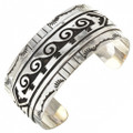 Navajo Overlaid Hammered Silver Wide Cuff 18681