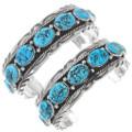Turquoise Nugget Sterling Silver Navajo Bracelet 17622