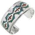 Navajo Rug Pattern Turquoise Cuff 13149
