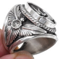 Southwest All Silver Cross Signet Ring 23018