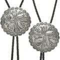 Stamped Silver Concho Bolo Tie 16148