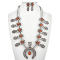 Apple Coral Silver Squash Blossom Necklace 29610