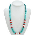 Navajo Turquoise Magnesite Coral Necklace 29741