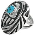 Turquoise Ladies Ring Overlaid Bear Paw 29751
