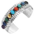 Colorful Multi Gemstone Sterling Silver Navajo Bracelet 28968