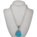 Native American Turquoise Silver Pendant 28924