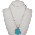 Blue Turquoise Silver Pendant 28924