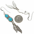 Turquoise Navajo Silver Feather Earrings 29483