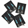 Turquoise Silver Feather Dangle Earrings 29483