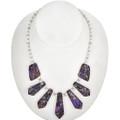 Purple Silver Bead Tab Necklace 29306