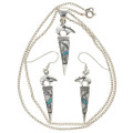 Silver Bear Pendant Earring Set 29558