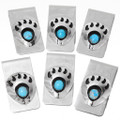 Shadowboxed Bear Paw Turquoise Money Clips 23865