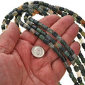 6mm by 8mm Moss Agate Beads 16 inch Strand
