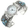 Turquoise Silver Ladies Watch Cuff 30438