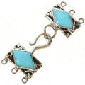 Sterling Silver Turquoise Three Strand Necklace Hook and Eye Set 0001